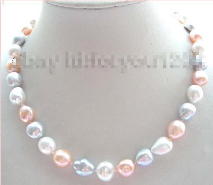 Free shipping 17 Natural 14mm Baroque Multicolor Pearl Necklace! image