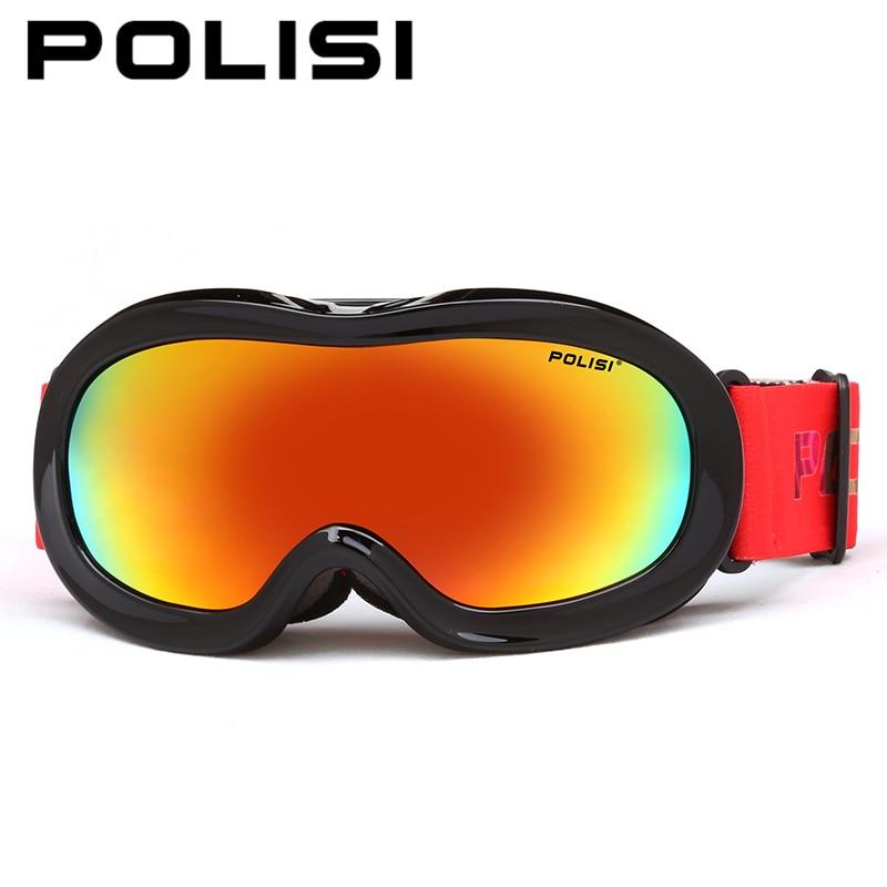 ФОТО POLISI Ski Snowboard Skate Goggles Children Kids Windproof Snow Glasses Polarized Anti-Fog Lens Skiing Mountaineering Eyewear