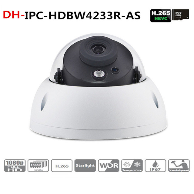 DH DH-IPC-HDBW4233R-AS Starlight Camera 2MP IR50m built-in Audio Alarm interface IPC-HDBW4233R-AS poe ip camera wholesale dahua dh ipc hdbw4233r as 2mp ir mini dome network ip camera ir poe audio sd card stellar h265 h264 ipc hdbw4233r as