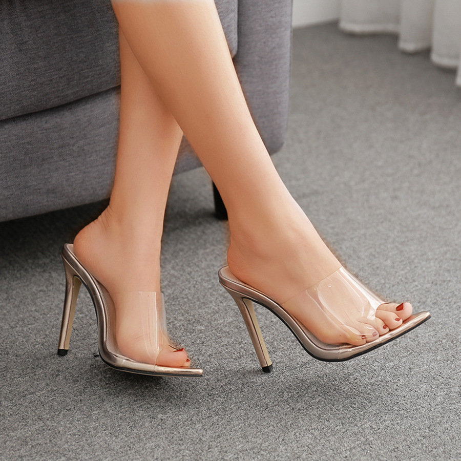 09b20784d0b US $39.9 |New Women Slippers PVC Crystal heel Transparent Sexy Clear High  heels Summer Slides Sandals Pumps 11cm golden-in High Heels from Shoes on  ...
