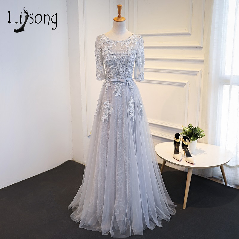 Elegant Gray Appliques Evening Dresses Long A-line Half Sleeves Customized Women Evening Formal Dress vestidos de festa Longo