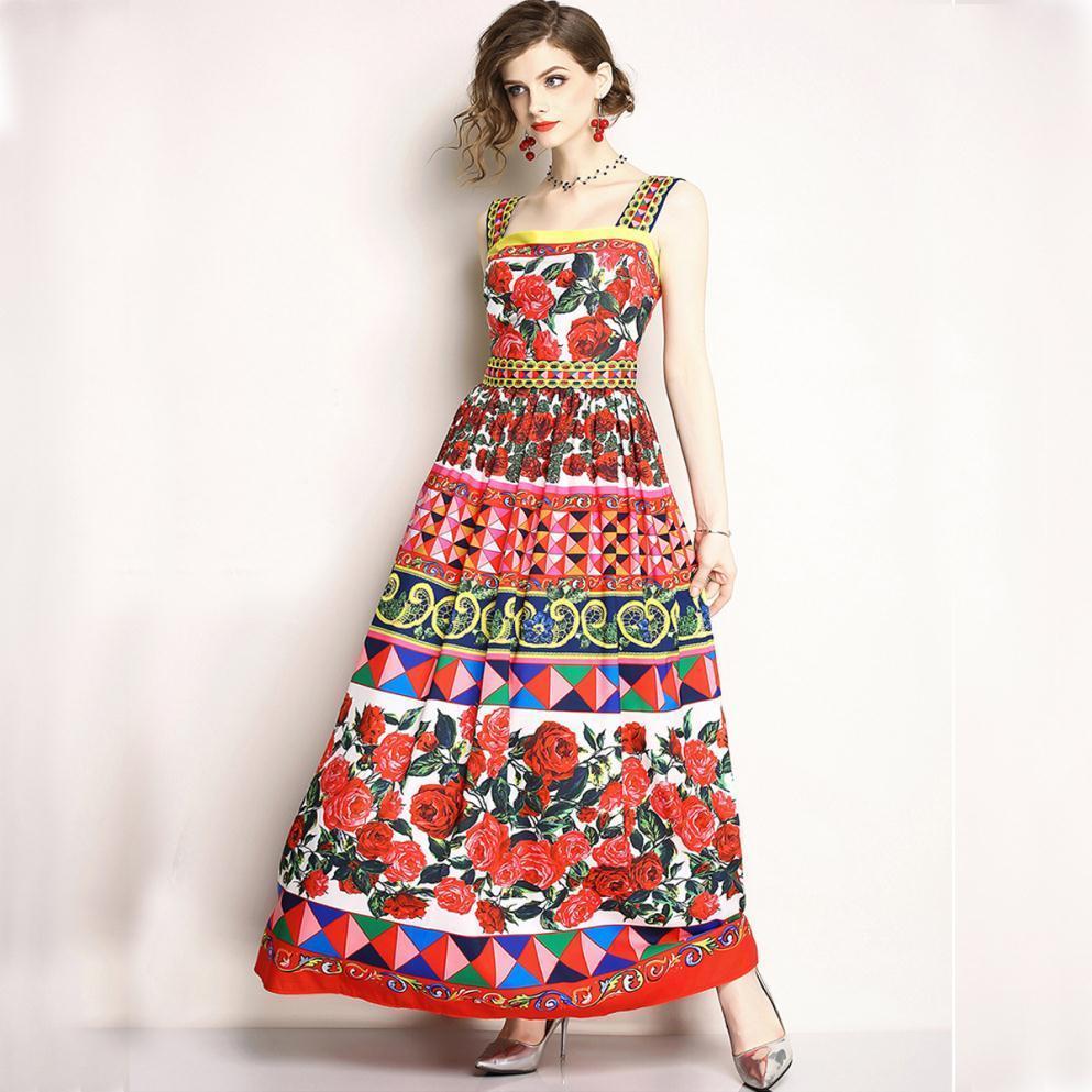 5680ee6899 2018 Bohemian Boho Long Beach Dress Rose Floral Print Summer Dresses Casual  Sundresses Women Maxi Dress Runway Robe Ete Femme