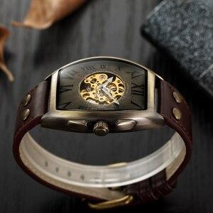 Image 4 - Shenhua 2019 Vintage automatyczny zegarek mężczyźni mechaniczne zegarki na rękę mężczyzna mody szkielet Retro brązowy zegarek zegar montre homme