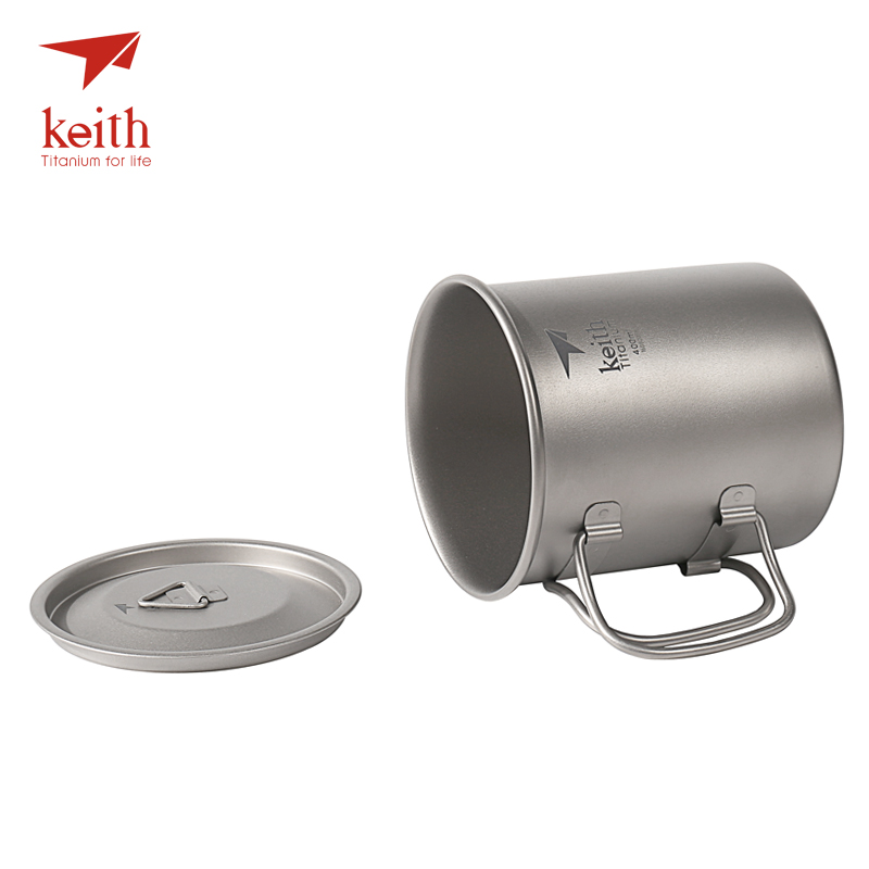 Keith Outdoor Camping Cups Titanium Water Mugs With Folding Handles Ultralight Travel Drinkware 300ml 400ml 500ml 600ml 900ml keith ti5338 ultralight titanium bowl with large capacity 900ml