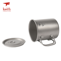 Keith Outdoor Camping Cups Titanium Water Mugs With Folding Handles Ultralight Travel Drinkware 300ml 400ml 500ml 600ml 900ml