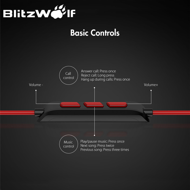 BlitzWolf Wired Earphone With Mic In-ear Earphone 3.5mm Earphones With Microphone For Phone Stereo Earbuds For iPhone Smartphone