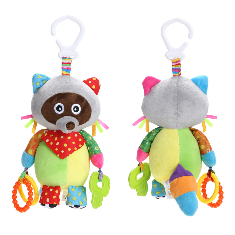 Plush Rattle Toys Animal Raccoon Baby Kids Educational Musical Soft Baby Teether Bed Stoller Hanging Soft Cartoon Toys Baby Gift newborn baby cute animal elephant bell plush baby rattle bed hanging kids stroller mobiles toys for gifts