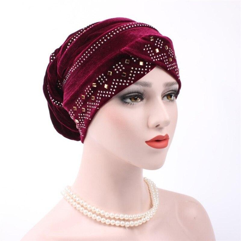 New Woman Hijabs Velvet Big Rhinestone Turban Head Cap Hat Beanie Ladies Hair Accessories Muslim Scarf Cap Hair Loss 12 Colors