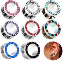 цена 1 Pair Crystal Zircon Steel Screw Fit Flesh Ear Plugs and Tunnels Ear Gauges Stretchers Body Jewelry Piercing Ear Expander онлайн в 2017 году