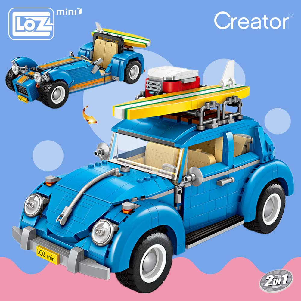 LOZ Bricks Building Blocks Technic Vehicle Model Racing Car 2 In 1 DIY Assemable Kids Toy Collection Creator 1114