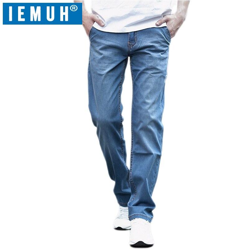 Iemuh زائد حجم الرجل الجينز الجينز عارضة منتصف الخصر فضفاض السراويل الطويلة الذكور الصلبة مستقيم الجينز للرجال الكلاسيكية 28 48-في جينز من ملابس الرجال على  مجموعة 1