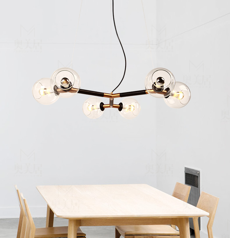 Nordic contracted creative personality American LED Wrought iron Lamps glass ball sitting room 6 heads Magic beans droplight