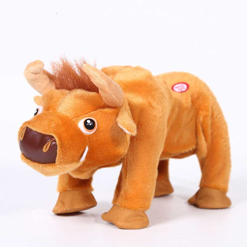 Robot Bull Plush Electronic Cattle Toys Pet Toy Jump Fighting Buffalo Brazil Bullfighting Toys For Boys Birthday Gifts
