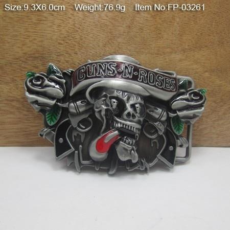 В Bullzine Пистолеты и Роза пряжка на ремешке с двойной Пистолеты с оловянной отделкой FP-03261 подходит для 4 см ширина ленты
