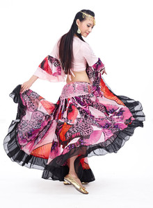 Image 3 - Falda gitana con estampado de flores de 720 grados, ropa con diseño Tribal para danza del vientre, prendas Flamenco, envío gratis