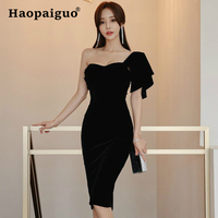 Plus Size Strapless Black Gold Velvet Dress Women One Shoulder Evening Party Dress Elegant Bodycon Dresses Woman Party Night