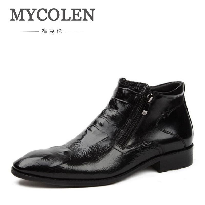 MYCOLEN Brand New Men Shoes Winter Cowhide Brown Men Boots Fashion Crocodile Male Zipper Shoes High-Cut Men Black Leather Shoes 2017 new spring imported leather men s shoes white eather shoes breathable sneaker fashion men casual shoes