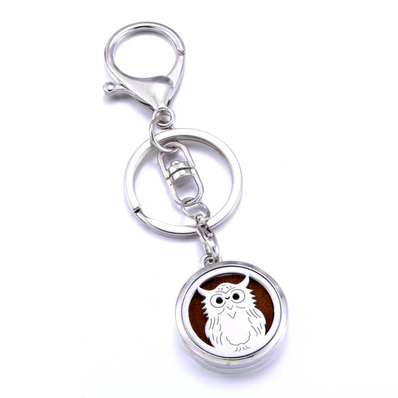 Aromatherapy keychain stainless steel owl pattern perfume diffuser keychain aroma diffuser jewelry suitable for car key