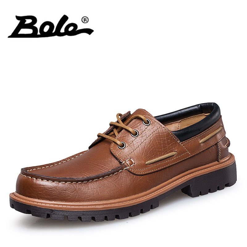 BOLE 2017 New Handmade Casual Leather Men Shoes Fashion Design Lace Up Men Tooling Shoes Flat Round Toe Shoes Men Big Size 36-47 front lace up casual ankle boots autumn vintage brown new booties flat genuine leather suede shoes round toe fall female fashion
