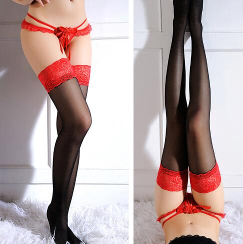 Women <font><b>Sexy</b></font> Red Widen Lace Stocking Sheer Straps Lace Fishnet Mesh Top Thigh High <font><b>Sexy</b></font> Lingerie Tight High black Stockings Gifts image