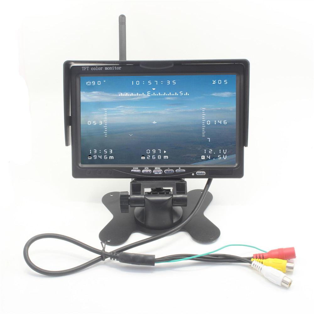 AIO 7 LCD HD FPV Monitor 5.8Ghz 40CH Buid-in Wireless Video Receiver Real Time Image Transmission for Remote Control FPV System free shipping 7 inch fpv display screen aerial lcd screen snow uav image transmission in wireless 5 8g receiver