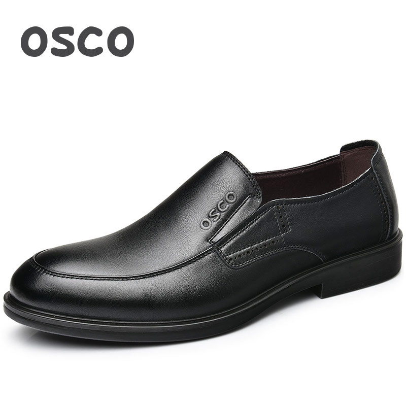 OSCO Men Shoes 2018 Spring Autumn Genuine Leather Business Casual Shoes Male Round Head Slip-on Comfortable Office Oxfords osco men shoes spring autumn genuine leather business casual shoes round toe slip on comfortable low shoes office work shoes