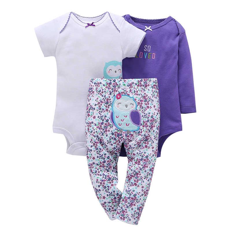 1a0fef8c38d77 baby girl boy clothes set cartoon animal print rompers+pant unisex newborn  costume infant clothing