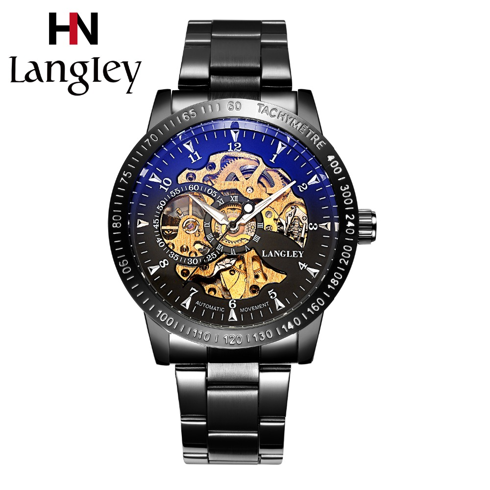 LANGLEY Luxusní značky Skeleton hodinky Muži Automatické mechanické hodinky Muži obchodní nerezové vodotěsné Casual hodinky