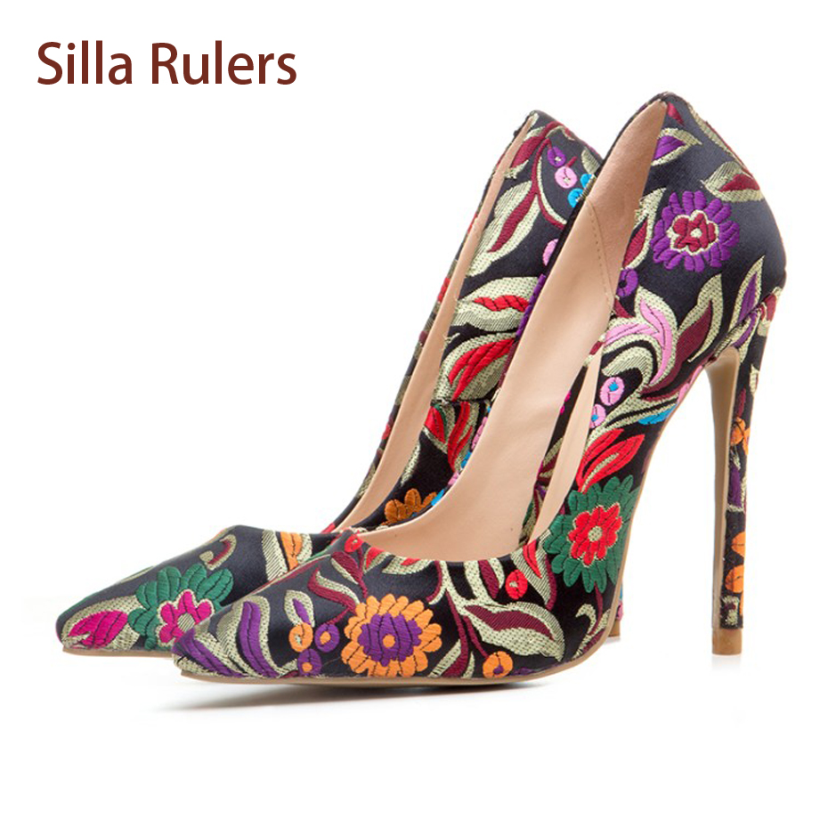 Silla Rulers Spring Autumn New Embroider Women Pumps Pointed Toe Stilettos Heel Sexy Lady Shoes Flower Shallow Mouth Party Shoes slhjc women summer autumn flats pointed toe shallow mouth flat heel sandals rivet shoes casual lady shoes