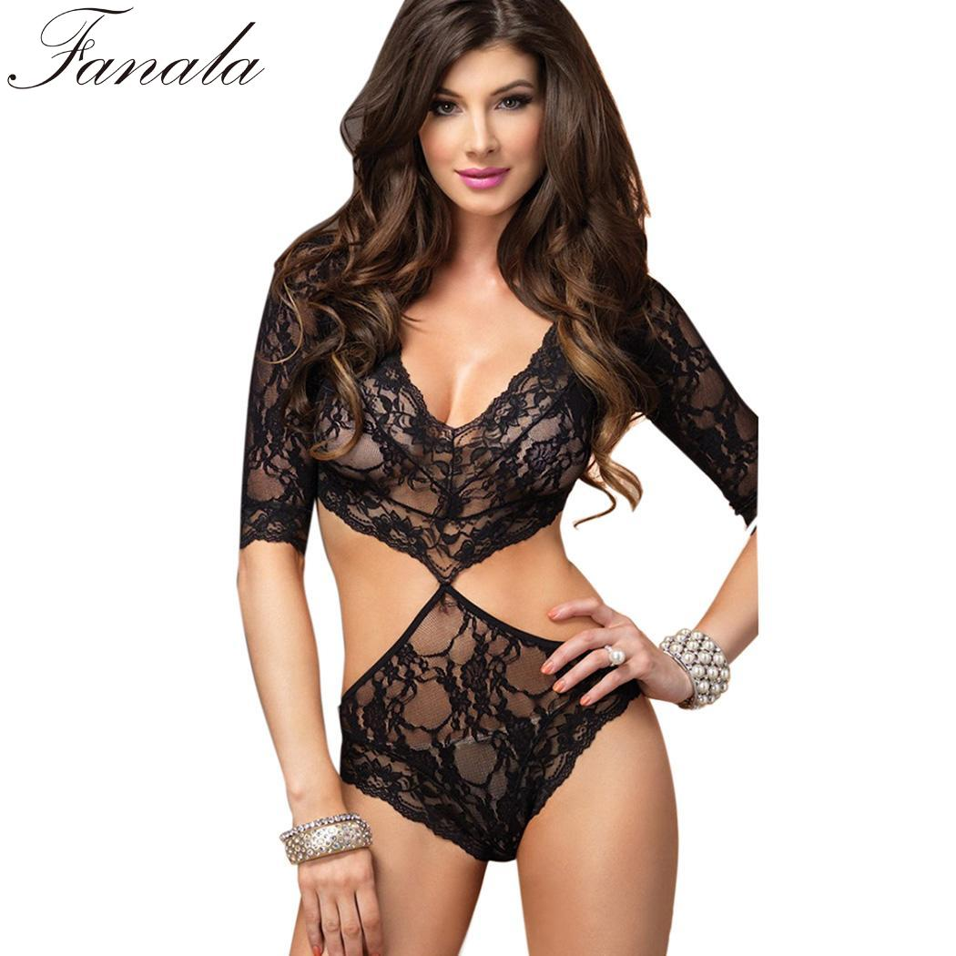 Sleeve Sexy Lace 3/4 Through V-Neck Women Lingerie Bodysuit See