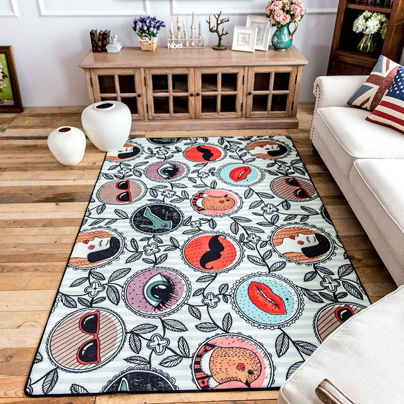 Modern style cartoon sunny holiday carpet 140 200cm living room carpet rectangle ground mat Pastoral font