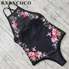 MOOSKINI One Pieces Swimsuit Women 2017 Floral Padded Swimwear Halter Bandage Monokini Female Black Bathing Suit