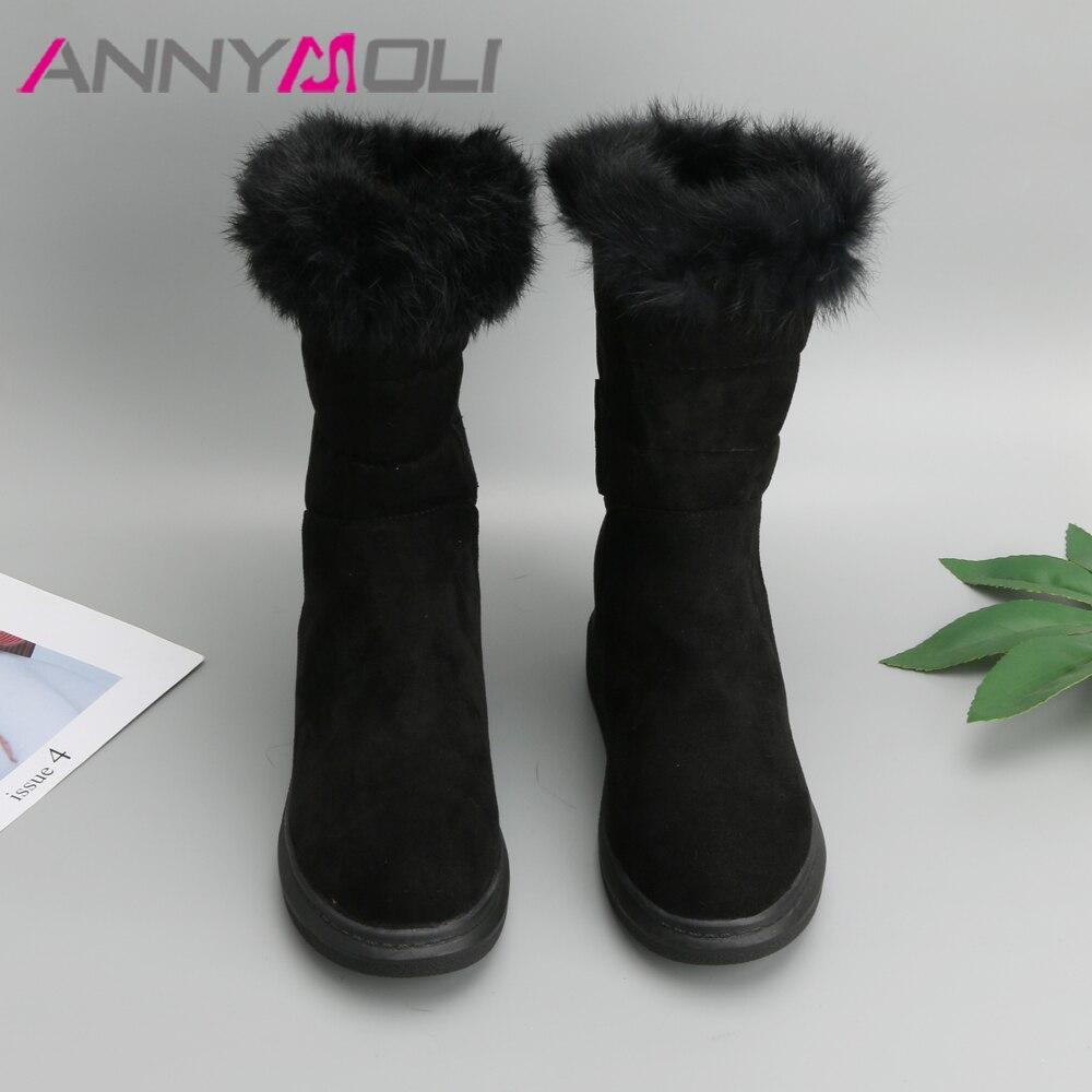 Chaussures 43 Nouveaux Fourrure Hiver Plate mollet noir Neige Noir Apricot Annymoli Mi Femmes Augmentation Vraie Taille Talons Cachée Bottes Talon forme Grande zBZHxqSF