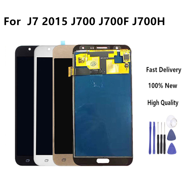High Quality Brightness Control Display For Samsung Galaxy J7 2015 J700 J700F J700H Screen Touch Digitizer Assembly Tools in Mobile Phone LCD Screens from Cellphones Telecommunications