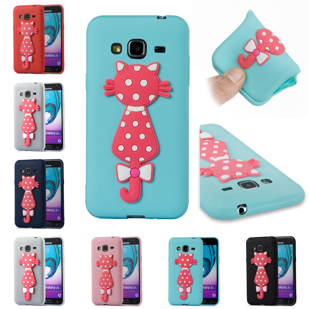 TPU Cute 3D Cat Silicone Cartoon Kryty Shell Cubierta Cover Phone Case For Sumsung Samsung Samsug Galax Galaxy J3 2016
