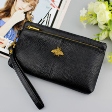 100% Genuine Leather Womens Wallet Fashion Zippers Bag Long Coin bee Purse Wristband Female Clutch Ladies Real Leather Wallets