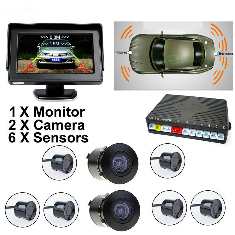 Car Video Parking Radar Sensor Assistance System with 22MM Sensors + Front and Rear view Camera + 4.3 TFT LCD Monitor for ford escape maverick mariner car parking sensors rear view back up camera 2 in 1 visual alarm parking system
