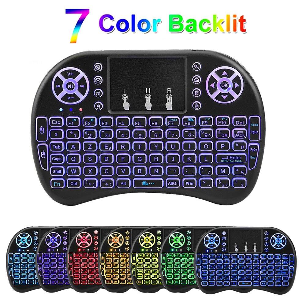 Backlit i8 Mini Air Maus 2,4G Wireless Tastatur mit Touchpad Englisch Russisch Spanisch Französisch Fernbedienung für Android TV BOX