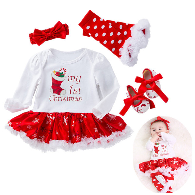 5514aadd9a92 My First Christmas Girl Clothes Newborn Xmas outfits Ruffle Tuttu Bodysuit  Headband Leg Warmer Shoes 4pcs Clothing Baby Set