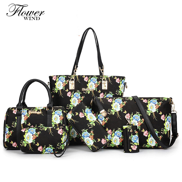 215ebfe592c2 6 Pieces Set Women Bag Zipper Print Handbag Flower Bag Floral Tote Ladies  Evening Strap Bags Colorful Female Messenger Bags Sac