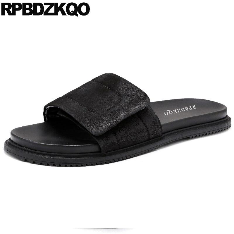 open toe fashion slippers men sandals leather summer shoes large size designer genuine slides slip on native 45 high quality