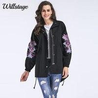 Willstage Plus Size 5XL Trincheira Mulheres Casacos Pretos de Volta Dividir Solto Oversize Floral Impresso Zipper 2018 Primavera Outono Tops Casuais