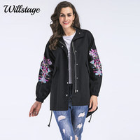 Willstage Plus size 5XL Trench Women Black Coats Back Split Loose Casual Oversize Floral Printed Zipper 2018 Spring Autumn Tops