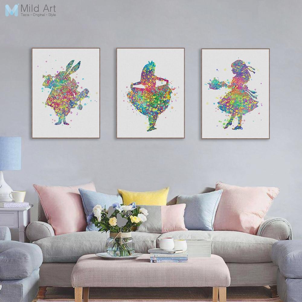 ALICE IN WONDERLAND RABBIT Print Watercolor Framed Poster Canvas Wall Art