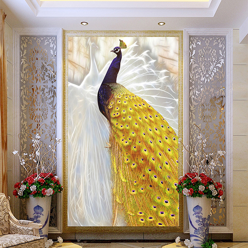 Custom Any Size 3D Photo Wallpaper White Yellow Peacock Living Room Entrance Background Wall Art Home Decor Wall Paper Mural