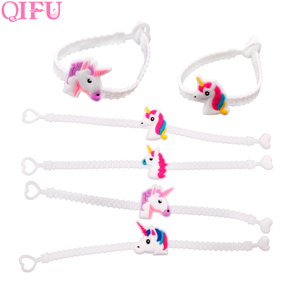 QIFU 12pcs Unicorn Party Theme Rubber Bangle Bracelet Birthday Party Decorations Kids Favors Wristband Unicorn Party Supplies
