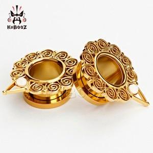 Image 3 - KUBOOZ Piercing screw back ear plugs piercing body jewelry gold ear tunnels stainless steel opal gauges wholesale