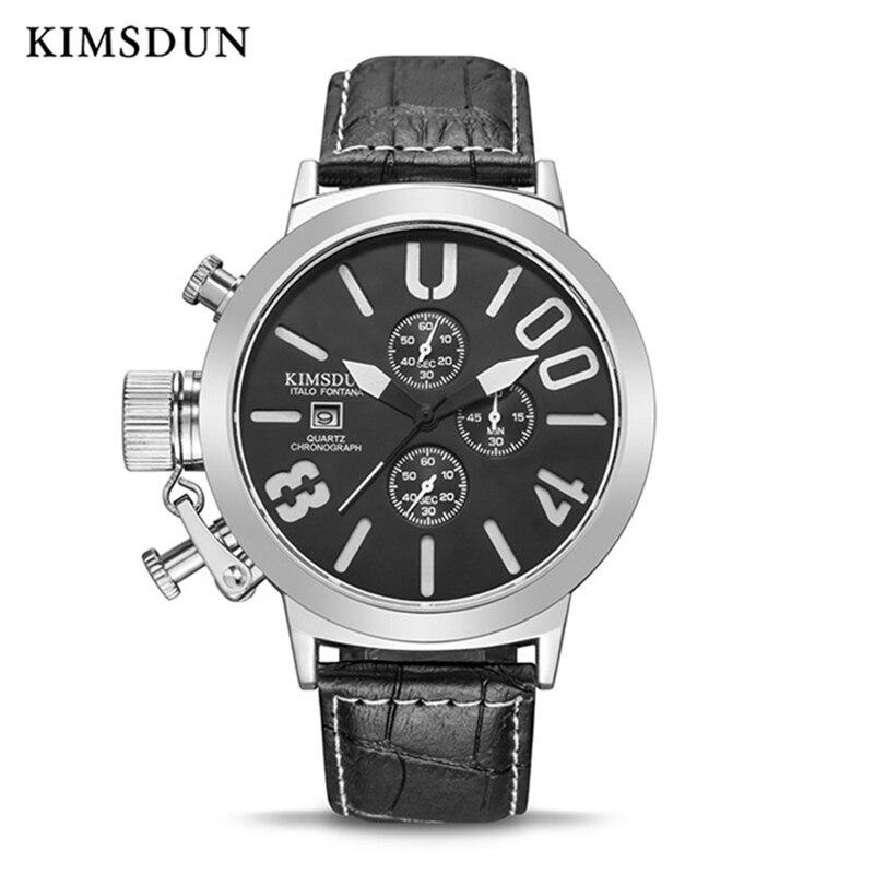 KIMSDUN Mens Watches Top Brand Luxury Quartz Sport Watch Men Fashion Waterproof Leather Stop Watch Complete Calendar Wristwatch