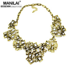 MANILAI Fashion Women Brand Accessories Geometric Rhinestones Metal Collar Chokers Vintage Bib Necklaces Statement Z Jewelry(China)