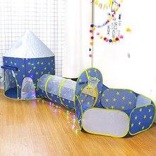 Kinder 3 In 1 zelt raumschiff zelt raum jurte zelt spiel haus Rakete schiff Spielen Zelt Ball pool